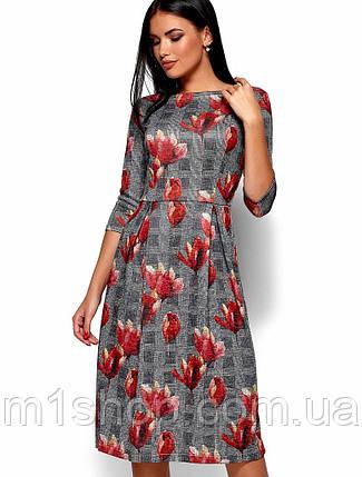 Женское расклешенное платье в клетку с цветочным принтом (Амелла kr), фото 2