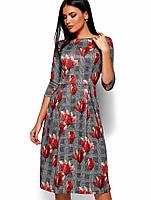 Женское расклешенное платье в клетку с цветочным принтом (Амелла kr)