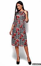 Женское расклешенное платье в клетку с цветочным принтом (Амелла kr), фото 3