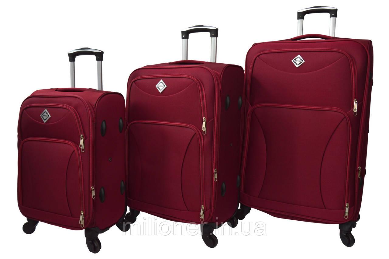 Чемодан Bonro Tourist 4 колеса набор 3 штуки вишневый