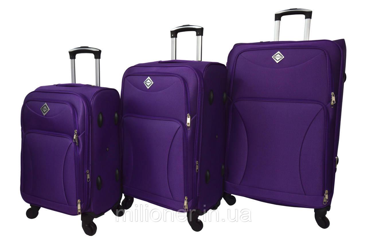 Чемодан Bonro Tourist 4 колеса набор 3 штуки фиолетовый
