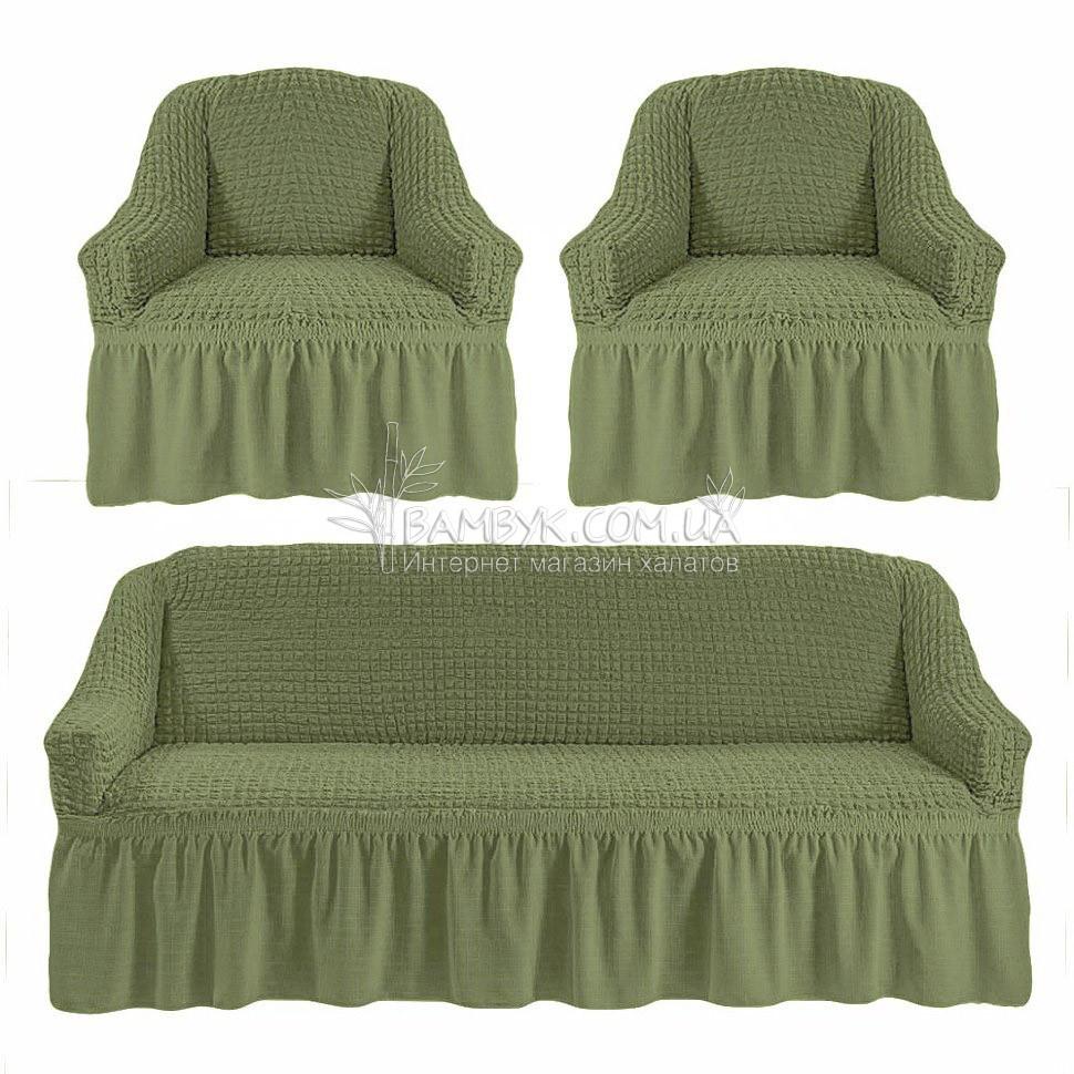 Универсальные чехлы Karven на диван и 2 кресла цвета хаки