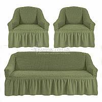 Универсальные чехлы Karven на диван и 2 кресла цвета хаки, фото 1