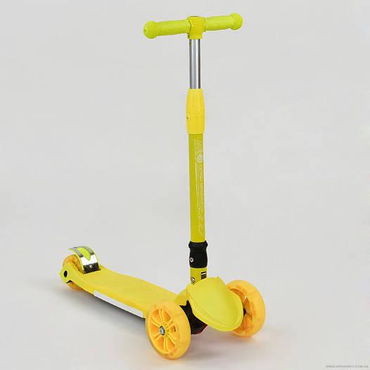 Самокат детский трехколесный Best scooter со светящимися колесами, складной руль, желтый