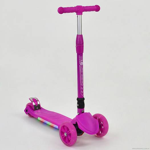 Самокат детский трехколесный Best scooter со светящимися колесами, подсветка платформы, складной руль, розовый