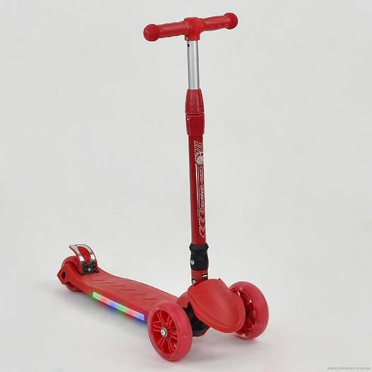 Самокат детский трехколесный Best scooter со светящимися колесами, подсветка платформы, складной руль, красный