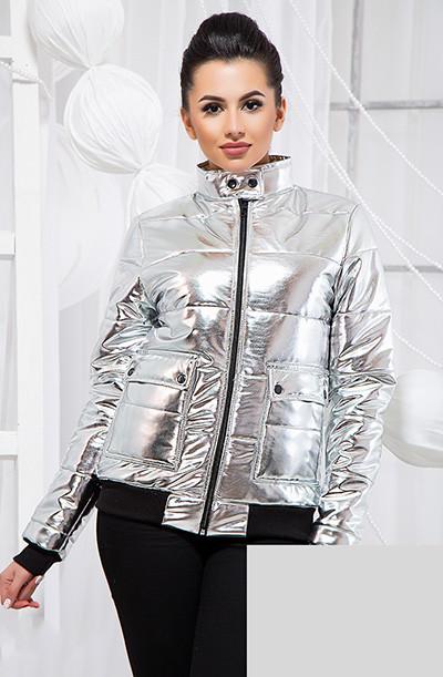 Демисезонная серебряная куртка из экокожи 8119335