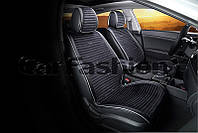 """Накидки универсальные """"CarFashion"""" MONACO FRONT на переднее сидения авто, цвет черный/черный/серый/серый."""