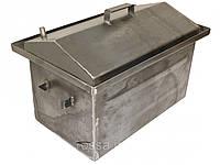 Коптильня с гидрозатвором крышка домиком 2 уровня (520*310*260)-1 мм для горячего копчения+ЩЕПА В ПОДАРОК!
