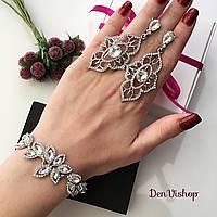 """Свадебный набор """"Stella-Eri"""", браслет и серьги серебристого цвета, фото 1"""