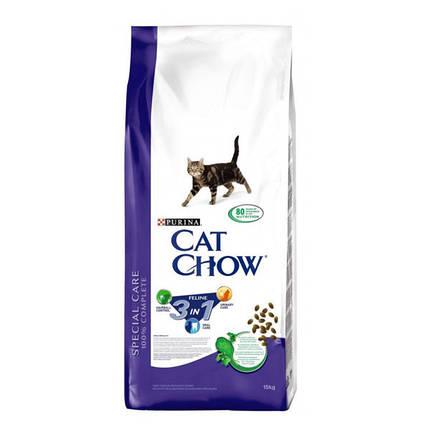 Cat Chow Feline 3 в 1 корм для кошек с индейкой (формула тройного действия), 1,5 кг, фото 2