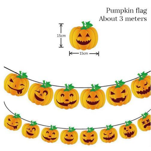 """Гирлянда для Хэллоуина """"Тыква"""" - в наборе 8 тыков, размер одной тыквы 15*15см, картон"""