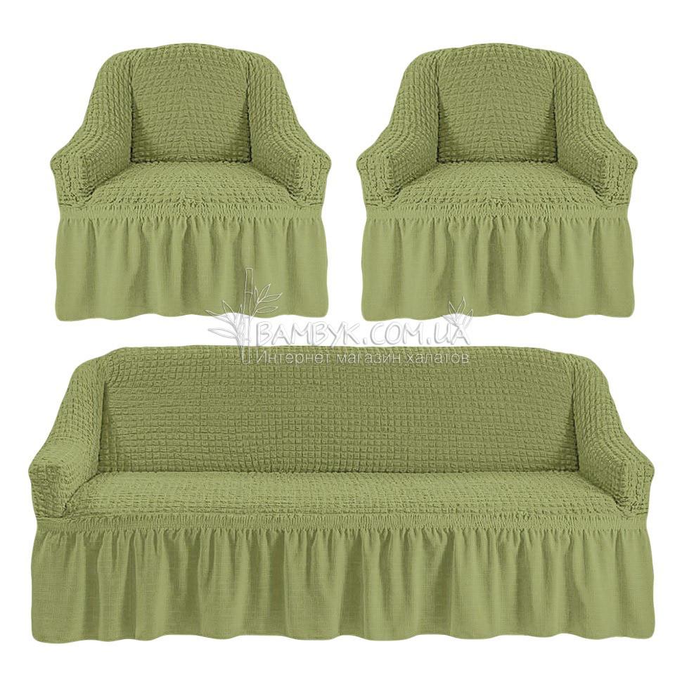 Универсальные чехлы Karven на диван и 2 кресла оливкового цвета