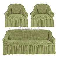 Универсальные чехлы Karven на диван и 2 кресла оливкового цвета, фото 1