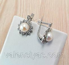 Серебряные серьги с жемчугом и фианитами, фото 2