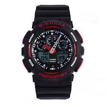 Спортивные часы копия  G-shock ga-100 черно-красные