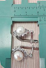 Серебряные серьги с жемчугом и фианитами, фото 3