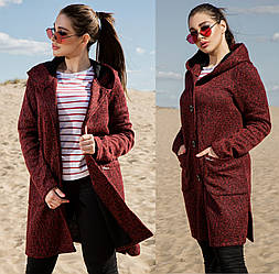 Бордовый кардиган меланжевый женский с капюшоном теплый больших размеров (батал)