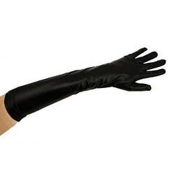 Перчатки атласные длинные (черные)