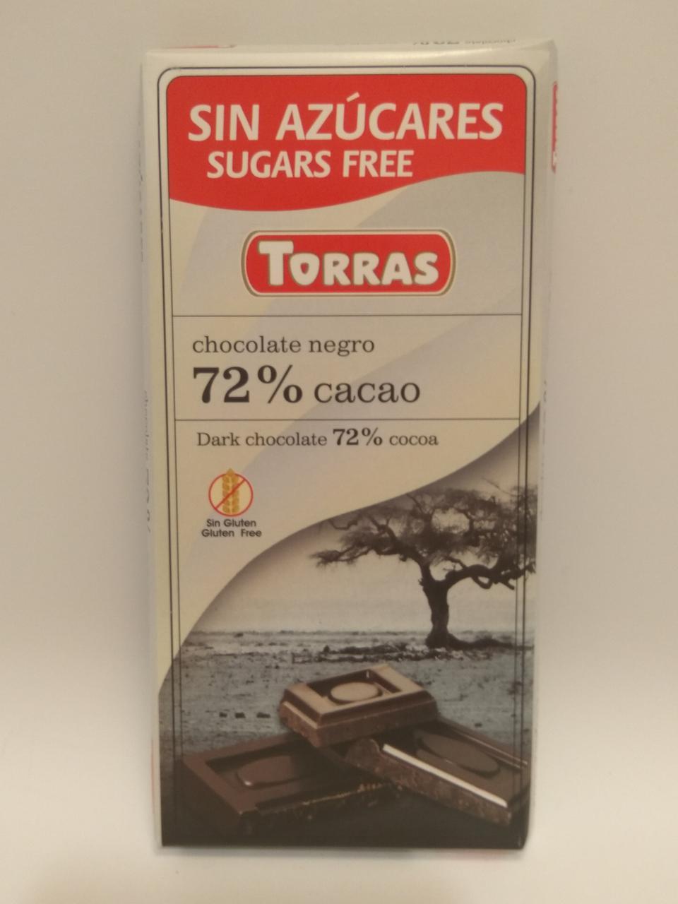Черный шоколад Torras 72% negro 75 гр