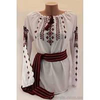 Традиционная женская вышиванка на поплине с использованием мережки