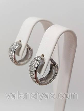 Серебряные женские серьги с цирконами и родиевым покрытием, фото 2