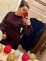 Женское стильное платье-туника с кружевом (3 цвета)