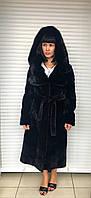 Шуба женская натуральная из бобра чёрная с капюшоном «кобра» из норки, фото 1