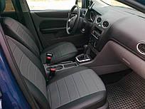 Авточехлы из экокожи Автолидер для  Ssang Yong Rexton 1-2 с 2002-2012г. Джип черные  с серым
