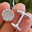 Серебряные круглые родированные запонки с фианитами, фото 6