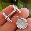 Серебряные круглые родированные запонки с фианитами, фото 5