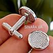 Серебряные круглые родированные запонки с фианитами, фото 4