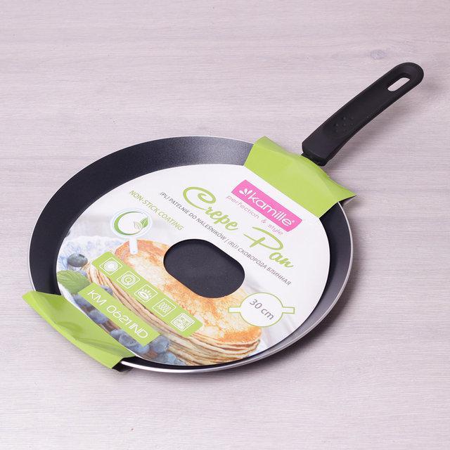 Блинная сковорода Ø30см из алюминия с антипригарным тефлоновым покрытием (индукция), блинная сковородка тефлон