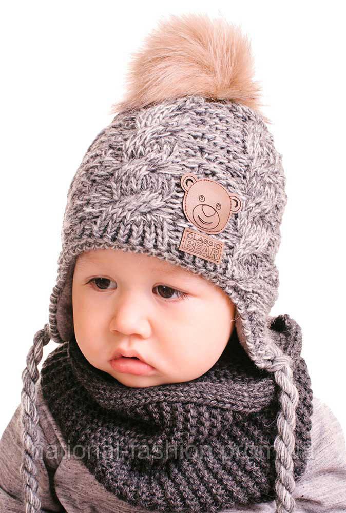 зимняя детская вязаная шапка на флисе с меховым помпоном карапуз 3