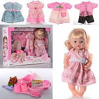 Большая кукла 39 см., говорит, 4 наряда, бутылочка, горшок, тарелка, каша, в коробке