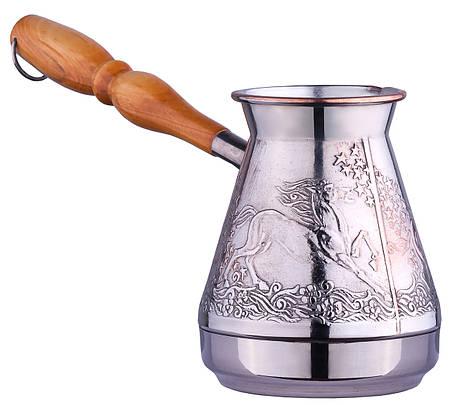 Медная турка для кофе Сторчай  «Лошади», 500мл. (410)