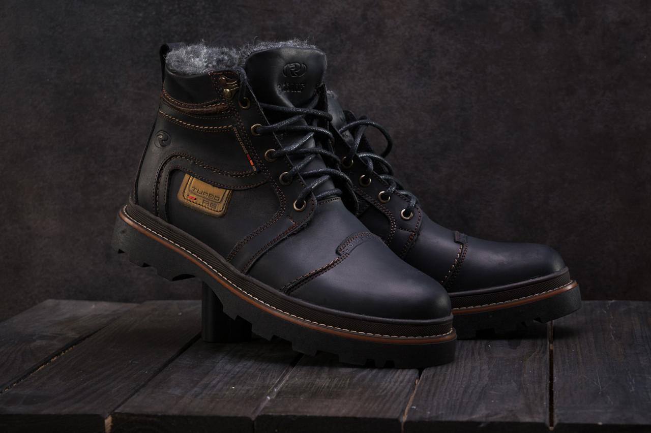 Мужские кожаные  ботинки Riccone зимние  высокие прошиты на меху (черные), ТОП-реплика