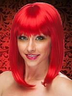 Яркий парик из искусственных красных волос