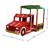 Детская песочница машина с крышой навесом для улицы и дачи деревянная с лавочкой и крышкой 260х145х180 см