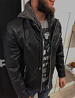 Мужская куртка черная кожзам на синтепоне 88861