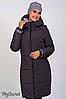 Теплая зимняя куртка бордовая для беременных зима серая 44-52, фото 4