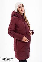Теплая зимняя куртка бордовая для беременных зима серая 44-52, фото 2