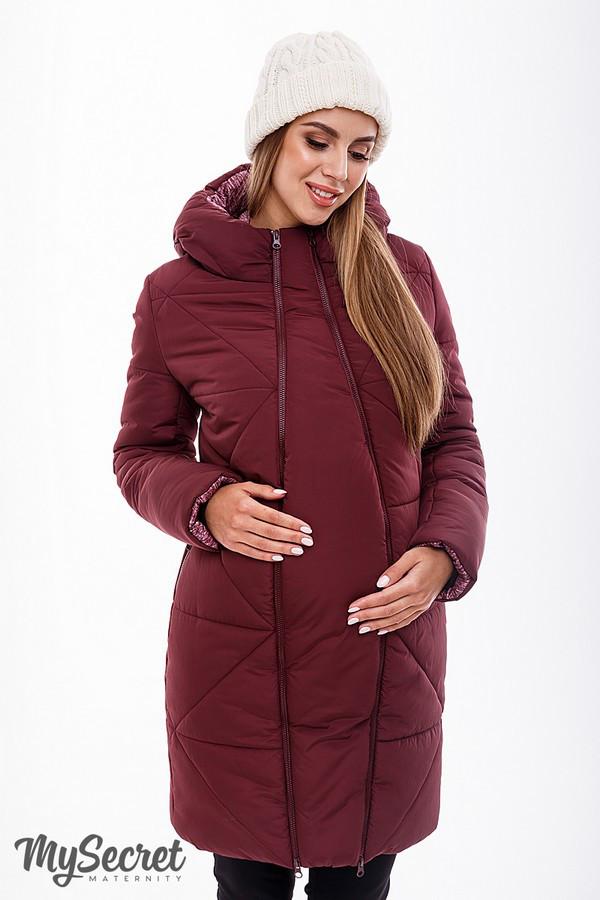Теплая зимняя куртка бордовая для беременных зима серая 44-52