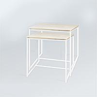 Комплект столов журнальных Куб 400 и Куб 450 - Дуб пепельный / белый (Loft Cub pepel-white)