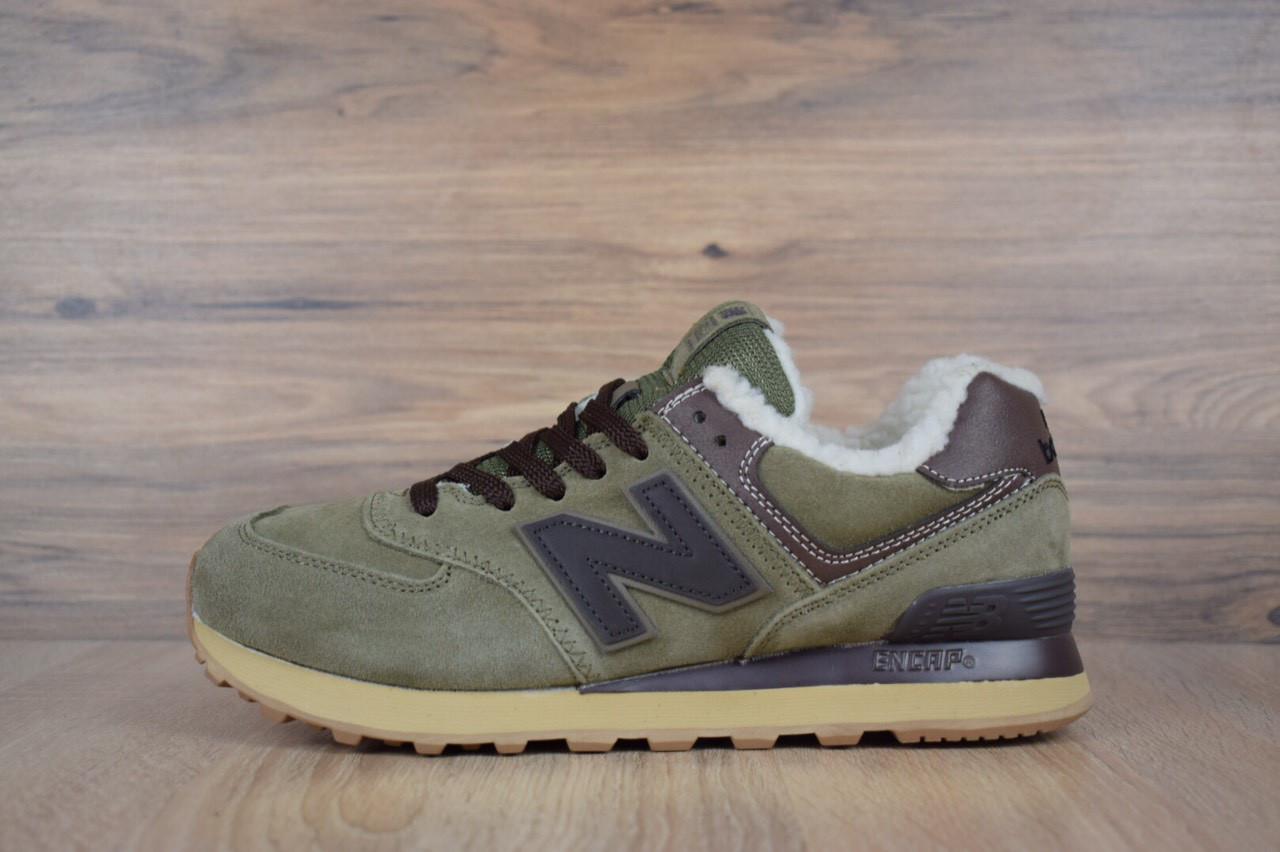 Кроссовки зимние мужские в стиле New Balance 574 код товара OD-3179.  Зеленые с 36ee5d35421