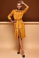 Трендовое Платье Кардиган из Экозамши Горчичное S-XL, фото 1