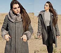 Пальто больших размеров (батал) кашемировое женское осеннее демисезонное