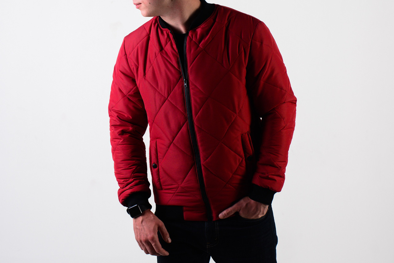 Мужская демисезонная стеганная красная куртка бомбер