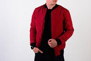 Мужская демисезонная стеганная красная куртка бомбер , фото 2