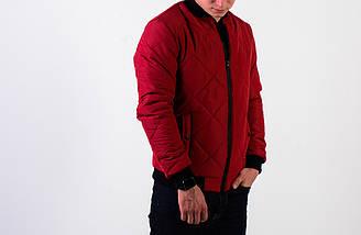 Мужская демисезонная стеганная красная куртка бомбер , фото 3